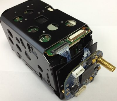 Sony fcb eh6500 with ivsdi-12 interface board assembled on custom bracket